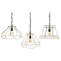 Set of three open wire mini pendants with vintage-style Edison bulbs.  Product: Small, medium and large pendantConstructi...