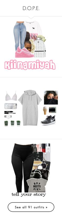 """D.O.P.E."" by trillest-kid ❤ liked on Polyvore featuring Victoria's Secret, MCM, Rolex, adidas, Forever 21, Monki, River Island, Moore & Giles, Lord & Berry and Larsson & Jennings"