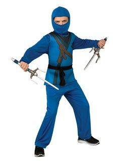 Blue Ninja Boys Costume S-L
