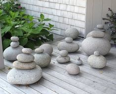 Stacked beach rocks for porch or entry. Martha Stewart's Rocks Collection from Beaches in Maine.