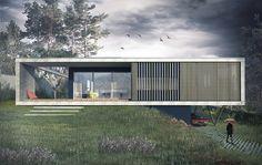 Maison contemporaine à Caluire en béton, sur un terrain en pente. Cadre en béton banché en porte à faux et terrasse bois avec pergolas.
