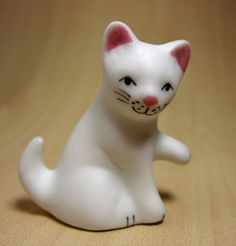 Ceramic White Cat Pair Figurine Miniature Decoration Kitten Gift Cute | eBay
