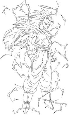 Goku Drawing, Ball Drawing, Marvel Coloring, Kid Goku, Ssj3, Line Sketch, Pink Trees, Cartoon Coloring Pages, Dragon Ball Z