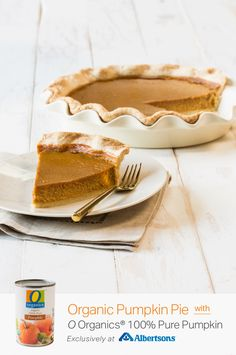 You MUST try this homemade pumpkin pie recipe, featuring O Organics® 100% Pure Pumpkin, found exclusively at your local Albertsons! With just the right amount of pumpkin spice (and everything nice), this made-from-scratch dessert is totally organic and totally delicious! You can't go wrong with this classic holiday treat made with flavorful notes of maple syrup, cinnamon, nutmeg and ginger! Pumpkin Slab Pie Recipe, Homemade Pumpkin Pie, Pumpkin Pie Recipes, Pumpkin Puree, Pumpkin Spice, Yummy Treats, Yummy Food, Healthy Dessert Recipes, Desserts