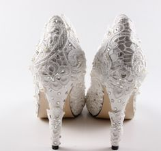 Handmade ivory lace shoes with pearl and rhinstones. $129.00, via Etsy.