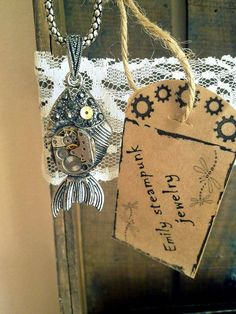 Steampunk necklace Guardian of the black rose by EmilySteampunk, $38.00