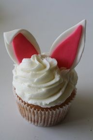 simple bunny ear decoration for easter cupcake