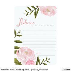 Romantic Floral Wedding Reception Advice Keepsake Rememberance Cards