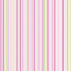Papel de Parede Listras Finas em Pink, Rosa Beb� e Verde Sobre Branco - Papel de Parede Digital