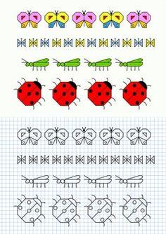 FICHAS PARA NIÑOS: APRENDE A DIBUJAR MARIPOSAS, GUSANOS Y MARIQUITAS Graph Paper Drawings, Graph Paper Art, Easy Drawings, Blackwork Embroidery, Simple Doodles, Drawing For Kids, Designs To Draw, Pixel Art, Cross Stitch Patterns