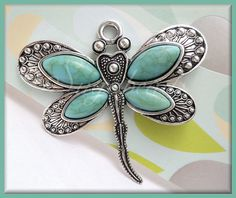 Large Antiqued Silver Dragonfly Pendant w Faux by sugabeads