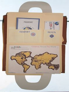 """Inside pix of the cereal box suitcase for the 115-page FREE Christmas Around the World Unit. Students tuck their """"craftivities"""" and lessons inside the suitcase, & keep other lessons in the """"briefcase"""" file folders, including their passport that they get stamped when they travel. This is a map that they chart."""