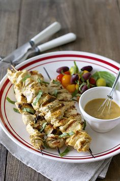 Fire up the grill! Tahini Garlic Chicken Kabobs!