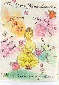 The five remembrances of the Buddha Dharma Buddhist Wisdom, Buddhist Quotes, Buddha Buddhism, Spiritual Quotes, Buddhism Facts, Hindu Quotes, Buddhist Teachings, Buddhist Art, Mantra