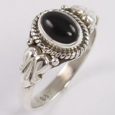 Tribal Art 925 Sterling Silver Ring Size US 5 Natural BLACK ONYX Oval Gemstone #Unbranded