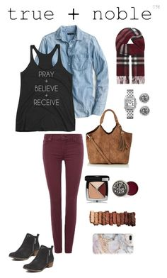 """""""Pray + Believe + Receive Racerback Tank (Fall look)"""" by trueandnobleapparel on Polyvore featuring J.Crew, 7 For All Mankind, Burberry, Chanel, Urban Decay, Bling Jewelry and Recover"""