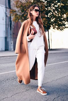 Long camel coat, white sweater, white joggers, brown suede sneakers, brown shoulder bag, two-tone sunglasses - Fall outfits, winter outfits, sneaker outfits, comfy outfits, camel coat outfits, casual outfits, weekend outfits, simple outfits, easy outfits, street style.