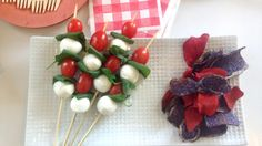 Caprese Pops! #healthy #july4th #fourthofjuly #party #partyfood #patrioticfood #redwhiteandblue #cheapeats #kidsnacks #fruit #recipes #capresesalad #skewers #kabobs
