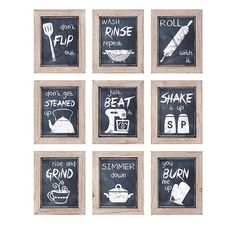 """Details: Enhance your kitchen with this fun set of nine chalkboard style framed prints. Dimensions: 10.5""""h x 8.5""""w x 1"""""""