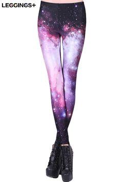 ROMWE   ROMWE Galaxy Print Purple Leggings, The Latest Street Fashion