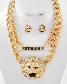 LION  NOTORIOUS Pendant Necklace and Earring Set by RICHGIRLZROCK, $49.00