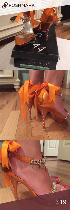 """Milan 44 Design Cinderella Heel Milan 44 Cinderella Women Club 4.5"""" Heel Shoe Rhinestone. Worn once as a bridesmaid in a wedding. Box and wrapping still available for shipping. Jeweled Bling. Size 7. Orange. Milan 44 Shoes Heels"""