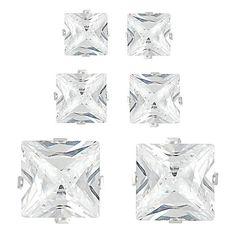 Journee Sterling Silver CZ Princess Earring Set