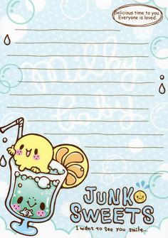Kawaii memo paper Kawaii Stationery, Stationery Paper, Kawaii Background, Memo Notepad, Cute Letters, Kawaii Doodles, Cute Notes, Printable Planner Stickers, Note Paper