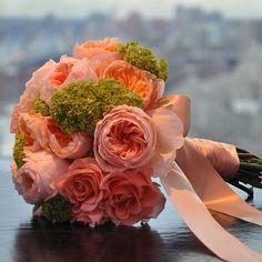 Brides: Classic Pink Wedding Bouquet of Juliet Roses. Juliet garden roses, peonies, and viburnum, $300