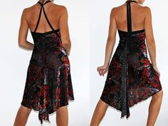 Tango party performance dress red end black por CrinolinAtelier