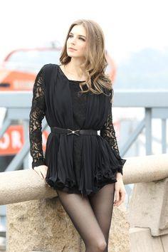 Black Lace Dress With Pleated Chiffon Layover