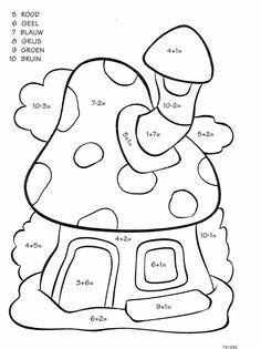 Groep 3 Number Worksheets Kindergarten, Printable Preschool Worksheets, Teaching Numbers, Symmetry Worksheets, Color Activities, Math Activities, Color By Numbers, Math For Kids, Coloring Pages