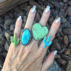 Hand Crafted Sterling Silver Green Gaspeite Inlay Cactus Ring | Native American Jewelry For Sale - #1 Rated & 100% Authentic