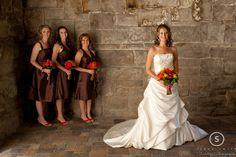 Bride & bridesmaids pose for portraits at Boise wedding
