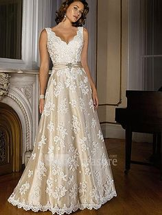White/Champagne Satin/Lace Straps A-Line Court Train Wedding Dress -Wedding & Events-Wedding Dresses-A-line Wedding Dresses