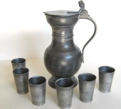 """Antique """"Sigg"""" Pewter Set Pitcher with Six Small Cups Primitive Gatherings, Antique Pewter, Precious Metals, Archaeology, Silver Plate, Tin, Old Things, Vase, Antiques"""