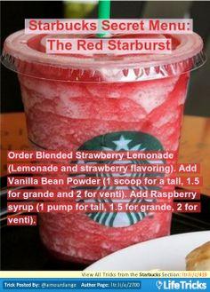 Starbucks Secret Menu: The Red Starburst Starbucks Hidden Menu, Starbucks Secret Menu Drinks, Starbucks Recipes, Starbucks Diys, Ice Cream Smoothie, Smoothie Drinks, Smoothies, Refreshing Drinks, Yummy Drinks
