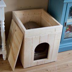 Kattenbak ombouw van steigerhout