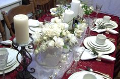Holiday Tablescapes, Dining room in our farmhouse, White Christmas decorating with cranberry red as the backdrop, Holidays Design