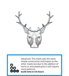 Stag or Reindeer full mask - Wintercroft