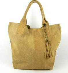 """Soft double handled suede leather tote. Suede rolled top handles. Magnetic snap tab closure. Includes tassel and leashed zip pouch. Unlined. Silver or Brass toned hardware. Colors: Black, Grey, Brown, Navy, Tan, Electric Blue, Fuschia 16""""W x 14""""H x 6""""D, 9"""" handle drop. 100% Genuine Leather. Made in Italy."""
