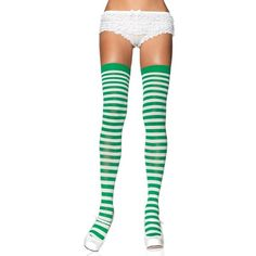 White kelly green nylon stockings ($11) ❤ liked on Polyvore featuring intimates, hosiery, tights, doll legs, nylon tights, stripe tights, striped pantyhose, striped stockings and doll stockings