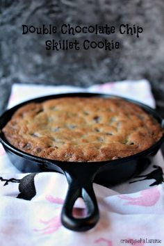 Double Chocolate Chip Skillet Cookie | Super easy to make Double Chocolate Chip Skillet Cookie that's loaded with chocolate chips and chocolate chunks. If you love chocolate this skillet cookie is for you!