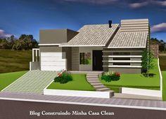 Fachadas de Casas dois pisos pequenas com garagem