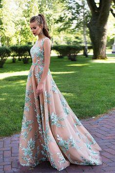 Blush Pink Prom Dress,Green Prom Dress,Elegant Prom Dresses,A