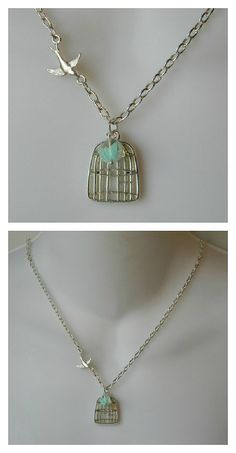 Sparrow flying into her Birdcage Necklace