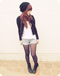 """Fall Outfit: """"Punk and Chic""""... Black Beanie + Black Leather Jacket + White Slouchy/Loose-fitting Tee/T-Shirt + Light Wash Denim Shorts + Sheer Black Tights + Black Lace-Up Boots"""
