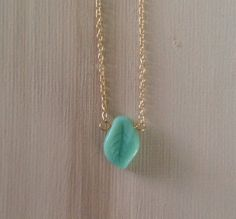 Simply beautiful tiny green leaf glass necklace by lovelybylara, $10.00
