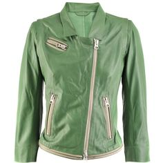 Sylvie Schimmel Green Leather Jacket City Lamb Hot ($1,060) ❤ liked on Polyvore featuring outerwear, jackets, women, green jacket, leather jackets, real leather jackets, sylvie schimmel and green leather jacket