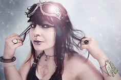 Space girl ! Cyberpunk inspired goggles and other creations.  www.milk-berry.be
